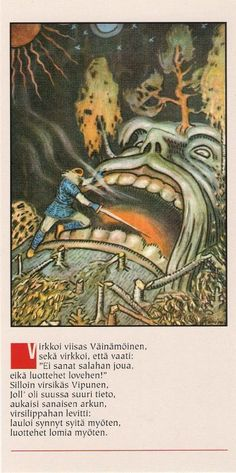 Väinämöinen enters Vipunen's mouth