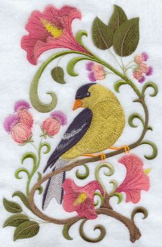 """Goldfinch in FlowersProduct ID:E9273 Size:5.86""""(w) x 9.02""""(h) (148.8 x 229.1 mm)Color Changes:32 Stitches:60484Colors Used:23"""