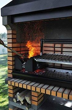 Callow Pan American Brick Masonry BBQ Grill - The Ultimate in Wood fired BBQ Grilling Outdoor Bbq Kitchen, Outdoor Barbeque, Pizza Oven Outdoor, Backyard Kitchen, Outdoor Kitchen Design, Outdoor Cooking, Backyard Patio, Masonry Bbq, Brick Masonry