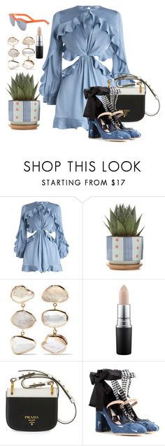 """""""Waiting Forever"""" by chelsofly on Polyvore featuring Zimmermann, Melissa Joy Manning, MAC Cosmetics, Prada, Miu Miu, Blue, orange, jumpsuit, plant and denimshoes"""