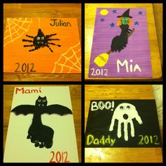 Halloween footprint and handprint art.