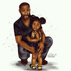 """""""Daddy's Girl"""" by Fashion Illustrator Black Girl Art, Black Girl Magic, Art Girl, Black Child, Black Man, Afrique Art, Natural Hair Art, Pelo Afro, Black Fathers"""