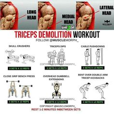Here we shared with you step by step Workout (tips) guide tutorial. How to make your workout more perfect and just a right way. The workout probably makes your health massive, Fitness Workouts, Weight Training Workouts, Fun Workouts, Fitness Tips, Step Workout, Workout Guide, Reps And Sets, Gym Routine, Triceps Workout