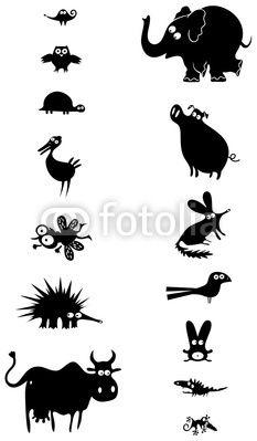 Set of black animal silhouettes