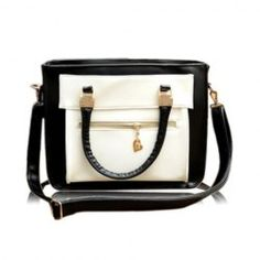 $20.87 British Style Women's Shoulder Bag With Color Matching and PU Leather Design