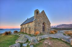 Just after sundown at the Church of the Good Shepherd the light was stunning for about 10 minutes. Available printed on canvas or a framed print. Or as a print. Lake Tekapo, The Good Shepherd, South Island, New Zealand, Home Decor, Interior Design, Home Interior Design, Home Decoration, Decoration Home