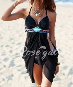 Wishing they had this suit in my size as it covers all the right places and shows off the rest. Sexy Halterneck Print Polyester Women's Swimwear
