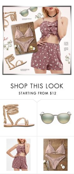 """""""A Minute"""" by monmondefou ❤ liked on Polyvore featuring Ray-Ban, Summer and romper"""