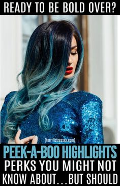 Peekaboo highlights can spice up your dark hair with sassy hues. Get five things to know to make your hair color pop in a fun, flirty way. Purple Peekaboo Highlights, Peekaboo Hair Colors, Peekaboo Color, Dark Hair With Highlights, Hair Color Streaks, Hair Color Blue, New Hair Colors, Cool Hair Color, Blue Streaks
