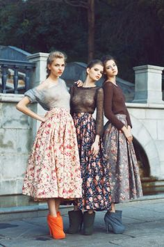 sheer knits, full floral skirts & boots #style #fashion