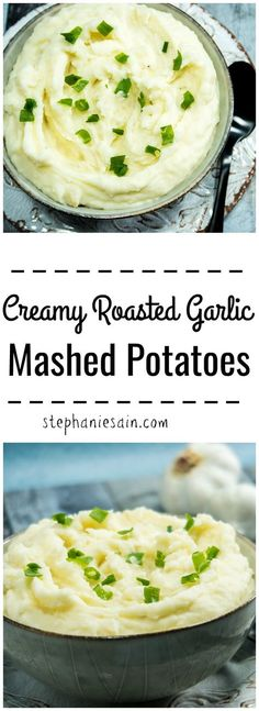 Creamy Roasted Garlic Mashed Potatoes - ultra smooth, rich, & buttery. Find out the secret for making perfect mashed potatoes every time. Gluten free & Vegetarian. : applesforcj