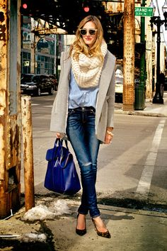 Transitioning from winter to spring...oversized blazer and infinity scarf.