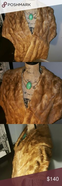 1 day sale-Beautiful Vintage 100% Mink- Vintage Shawl 1970's- by Howard's  fur shoppe chicago- cleaned and ready for a new home- lining on lerfect condition and it has 1 clasp in front- size m/l- some peeling around neck not noticeable Jackets & Coats Capes