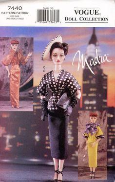 f440dc75ca2413 Madra Doll 1950's Circa Outfits Vogue Pattern 7440 Ashton Drake 15.5