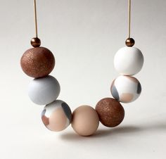 Copper grey and pink clay beaded necklace by FinchcreationsStore