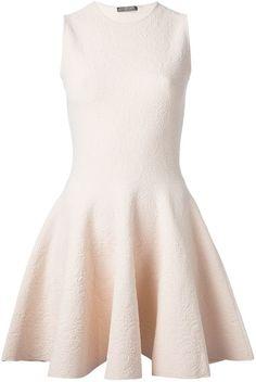 $1,935, Pink Skater Dress: Alexander McQueen Jacquard Skater Dress. Sold by farfetch.com. Click for more info: https://lookastic.com/women/shop_items/82389/redirect