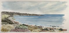 Watch this being painted: watercolour sketch of La Jolla, from just above the Scripps Institute of Oceanography (click 'visit' to watch). Watercolour Tutorials, Watercolor Sketch, La Jolla, Sketching, San Diego, Mixed Media, Pencil, California, Watch