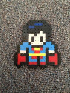 DC Comics Superman 8Bit Perler Bead Sprite by GothamCityCrafts