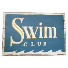 "Wooden Pottery Barn ""Swim Club"" sign #huntersalley"