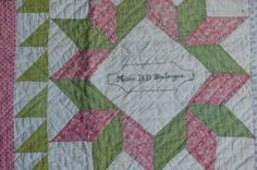 1800s Doll Quilt Signed Misses D D Snoberger Turkey Red Overshot Green Dbl Pink   eBay, cedarchestquilts