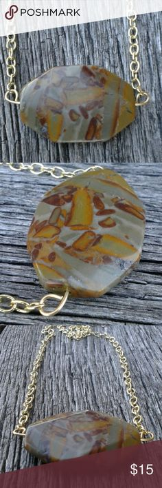 Necklace Large 2 x 1 1/2 inch natural stone focal on a gold chain. Handmade Jewelry Necklaces