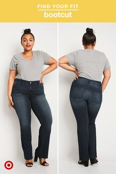 """Model is 5'8.5"""" and wears Plus size 16. The flare trend is back, bringing with it all the '70s glam we could ever ask for. Flared jeans—especially with a great pair of heels—create the illusion of super-long legs and accentuate curves for a sleek silhouette. Look for on-trend details like frayed hems to add interest to your outfit."""