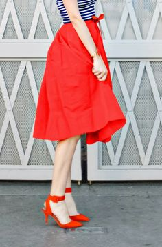 Red midi skirt + navy striped top