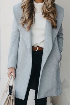 Dark Denim Obsessed, Winter Outfits, Classic grey jacket for winter worn with a warm white turtleneck, brown belt, and black jeans. This look is effortless and classic. Mode Outfits, Casual Outfits, Fashion Outfits, Womens Fashion, Black Outfits, Fashion Shoes, Fashion Jewelry, Party Fashion, Miami Outfits
