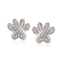 .10 ct. t.w. Diamond Paw Print Stud Earrings in Sterling Silver