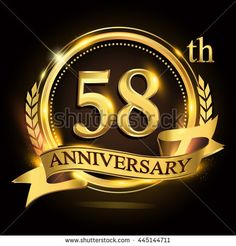 58th golden anniversary logo with ring and ribbon, laurel wreath vector design.