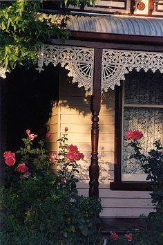 cottage with gingerbread trim by Adelaide Wrought Iron Light by LaVeta Jude on… Victorian Architecture, Architecture Details, Porches, Porch Trim, Front Porch, Pavillion, Estilo Country, Country Style, Country Living