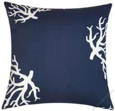 """18"""" Sq Deep Navy Blue Coral Decorative Indoor Outdoor Throw Pillow Cover 