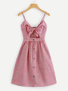 Shop Cut Out Knot Front Striped Dress online. ROMWE offers Cut Out Knot Front Striped Dress & more to fit your fashionable needs. Dress Outfits, Casual Dresses, Fashion Dresses, Girls Dresses, Stylish Outfits, Cool Outfits, Mode Kawaii, Vetement Fashion, Mode Vintage