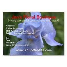 Pretty Blue Iris flower on front of Business Cards - White Mountain Laurel flowers on back of card Templates.  Nice for a floral shop, etc.   CUSTOMIZE for free.  Photography design by www.zazzle.com/tamirazdesigns*