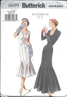 Butterick 6699 Retro '51 Misses Fishtail Gown SKIRT Vintage 1950s Sewing Pattern UNCUT Size 12, 14 and 16 by VintagePatternStore on Etsy https://www.etsy.com/uk/listing/456394346/butterick-6699-retro-51-misses-fishtail