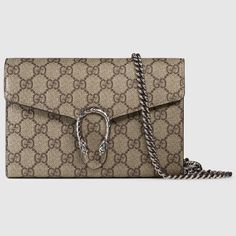 Gucci Dionysus GG Supreme Chain Wallet. I want the black one (black side and interior leather, GG print exterior). $1200.