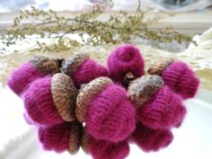 7 Pink Rosebud CASHMERE ACORNS upcycled by CustomWarmWoolies, $11.00