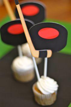 Hockey Birthday Party Cupcake Toppers by TakeitPersonallybyM, $10.00
