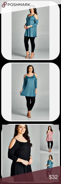 NWT Antique Blue Plus Size Cold Shoulder Tunic Cold Shoulder Tunic Top by Emerald****SALE!!!!**** -Very Comfortable & Stretchy Fabric -Great Tunic Length -Looks Great with Leggings or Skinny Jeans -Made in the USA -3/4 Length Sleeves -Color: Antique Blue -Check My Boutique for Mauve & Black -Material: Rayon, Jersey, & Spandex Blendd -Measurements in the Pictures -NWT -Price is Firm Unless Bundled Emerald Tops Tunics