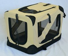 """Portable Soft Pet Crate or Kennel for Dog, Cat, or other small pets. Great for Indoor and Outdoor (Beige, Large: 36""""x25""""x25"""") - http://www.thepuppy.org/portable-soft-pet-crate-or-kennel-for-dog-cat-or-other-small-pets-great-for-indoor-and-outdoor-beige-large-36x25x25/"""