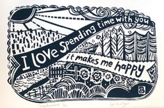 Togetherness Linocut Original Print £25.00