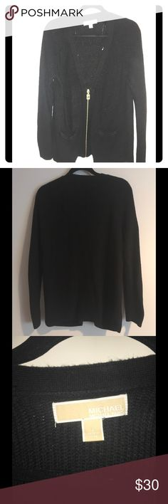 Michael Kors Sweater Zipper is gold. Has 2 pockets. Has one hole in the back but can be easily patched. Bought at Nordstrom, Has a v-neck as well. Michael Kors Sweaters Cardigans