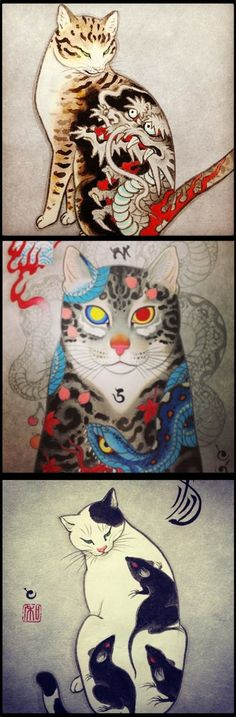 If cats got tattoos. Artwork by Japanese Tattoo artist Kazuaki Horitomo Kitamura. Crazy Cat Lady, Crazy Cats, Illustrations, Illustration Art, Tattoo Gato, Japanese Tattoo Artist, Kunst Tattoos, Cat Tattoos, Image Chat