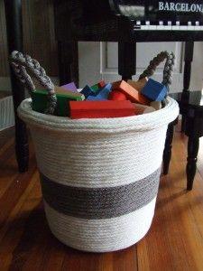 Rope basket tutorial from a Dollar Store basket! Great for toy storage! #basket #DIY #ropebasket
