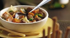 Zesty pork stew packed with veggies - perfect for a hearty dinner that can be ready in 25 minutes!