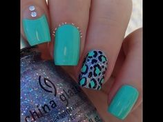 Just the one nail, with the negative space and the gems :) Leopard and turquoise nails. By jewsie_nails nail art. Get Nails, Fancy Nails, Love Nails, Trendy Nails, How To Do Nails, Leopard Nail Art, Leopard Print Nails, Leopard Nail Designs, Leopard Prints