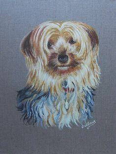 Portrait animalier à l'acrylique sur lin brut.  Réalisé sur commande, d'après photographie.  www.virginiewibaux.com
