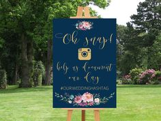 Printable wedding social media sign Navy social by instanttrends