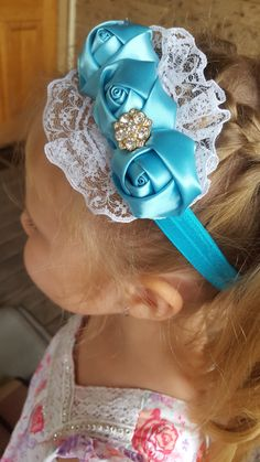 Blue Satin Roses and Lace Headband, Girls Lace Hair Band, Headband For Baby Girl, Toddler Baby Show, Photo prop, Adult Headband