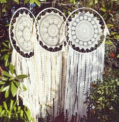 This stunning Doily Dreamcatcher will look gorgeous in your home. You'll also love the Doily Button Art and the Doily Lamp!